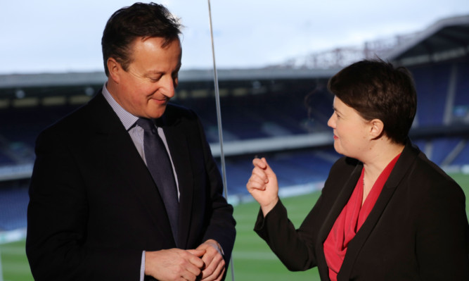 David Cameron with Scottish Conservative leader Ruth Davidson. He has been one of her biggest cheerleaders.