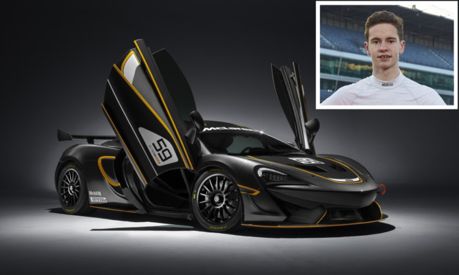 Sandy Mitchell (inset) will race in the McLaren 5705 GT4 from April.
