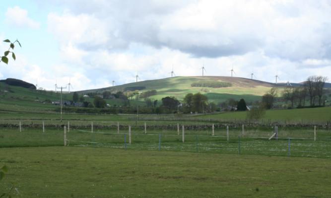 An artist's impression of the Saddle Hill windfarm.
