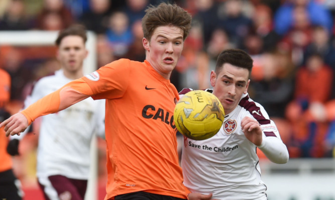 Blair Spittal in action against Hearts.