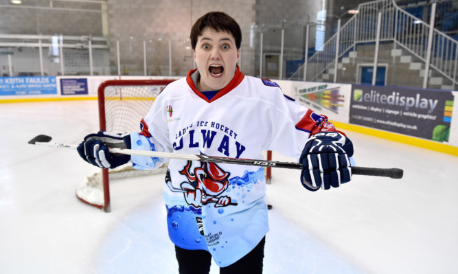Conservative leader Ruth Davidson takes to the ice with Scotland's female under twenties ice hockey team in Dumfries.