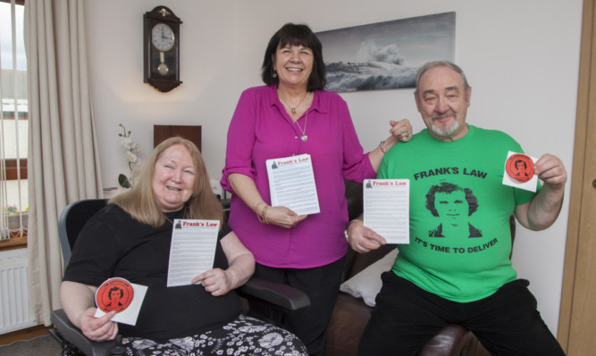 Amanda Kopel with Eunis and Tommy Doyle at the Frank's Law leaflets launch.
