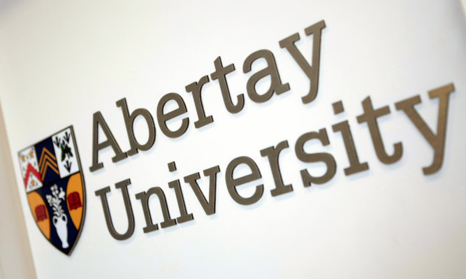 Kris Miller, Courier, 21/04/15. Picture today at Abertay University shows general view of the university name and crest for files