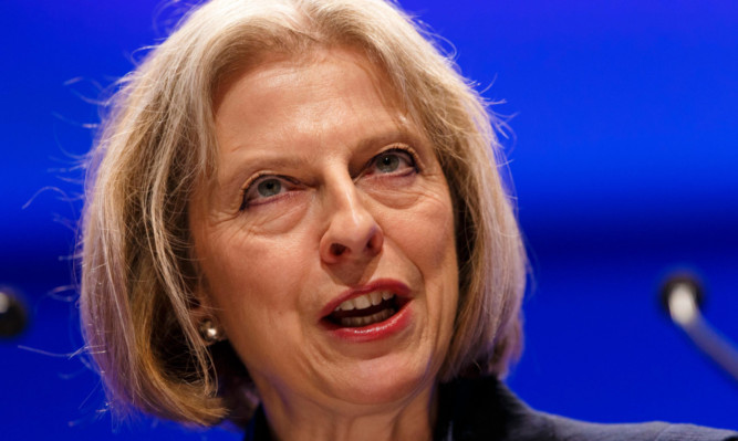Theresa May announcing the introduction of whole-life sentences in England and Wales.