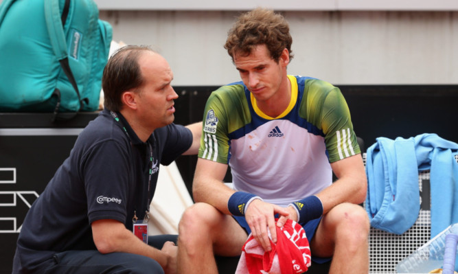 Andy Murray taking an injury time-out before withdrawing in Rome earlier this week.