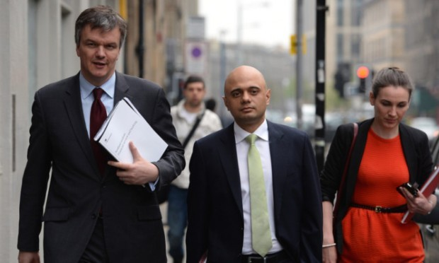 Scotland Secretary Michael Moore, left, and Economic Secretary to the Treasury Sajid Javid attend the launch of the Scotland Analysis Financial Services and Banking Paper in Edinburg