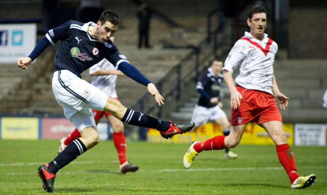 New United striker Brian Graham scoring for Raith Rovers against Airdrie United.