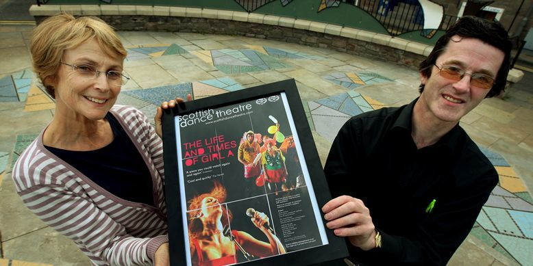 John Stevenson, Courier,03/08/10.Dundee.The Rep,launch of Nethergate Writers Group.Pic shows l/r Janet Smith(Artistict Director Scottish Dance Theatre) and Roderick Manson who's poem appears on the dance groups poster for the Edinburgh Festival.