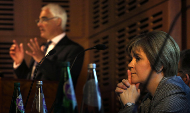 Former chancellor Alistair Darling and Deputy First Minister Nicola Sturgeon at the conference in Edinburgh.