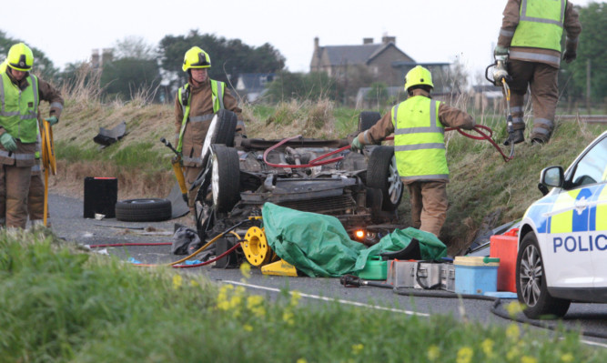 Firefighters at the scene between Easthaven and Carnoustie on Wednesday night.
