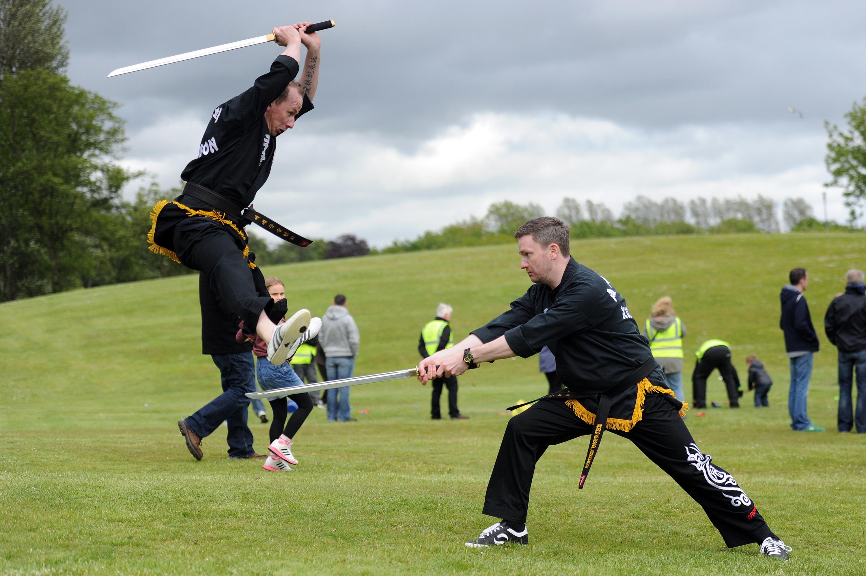 Patrick McKernan and Bruce Munro from the Kuk Sool Won martial arts club at last year's festival