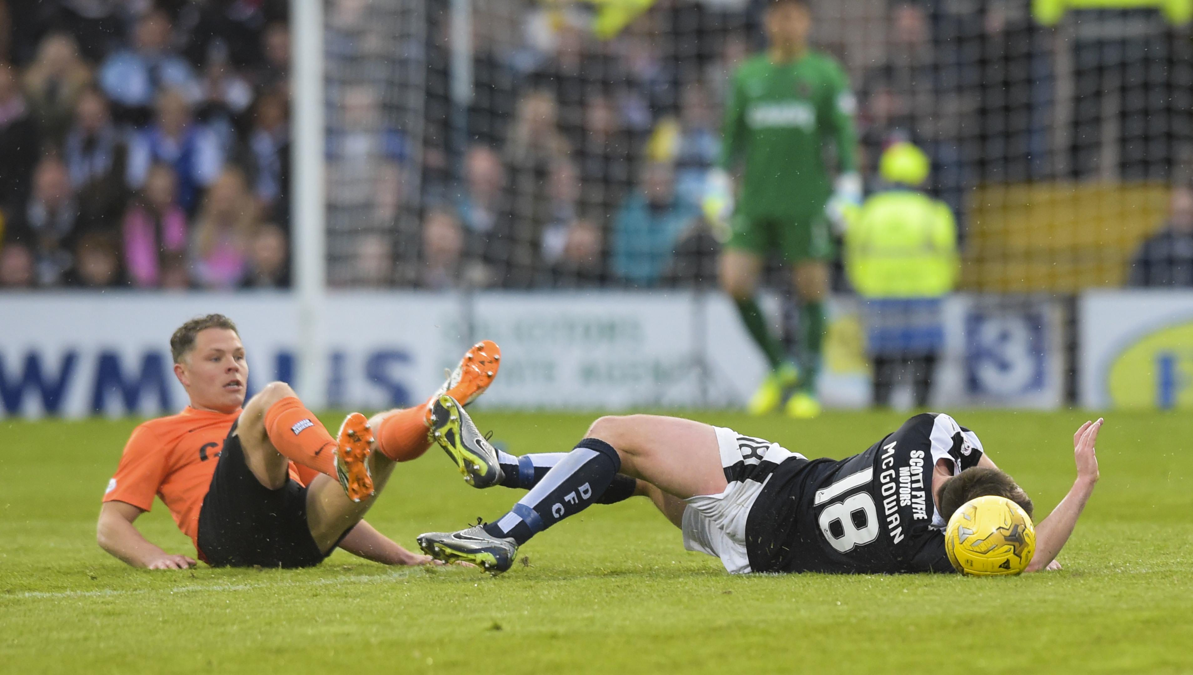 Dundee United's John Rankin challenges Paul McGowan.