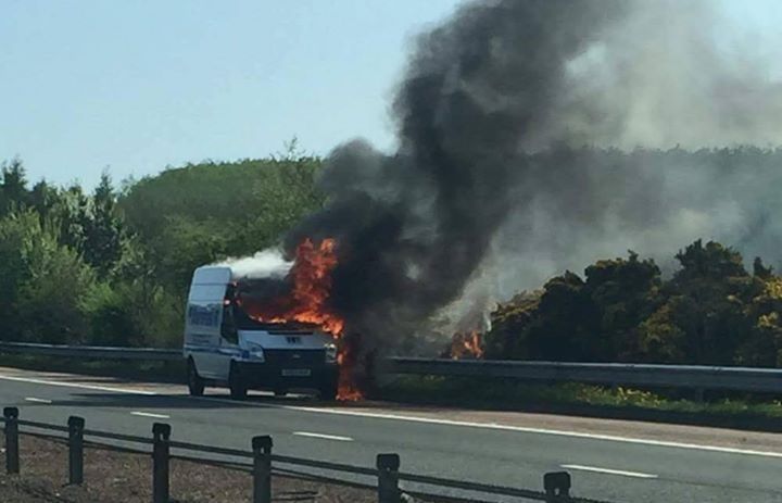 The fire is causing long delays on the M90 between Halbeath and Kelty.