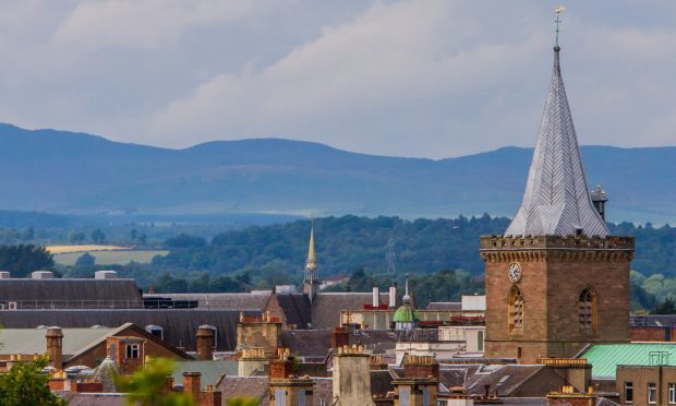 Steve MacDougall, Courier, Dundee Road, Perth. Scenic view of Perth City St Johns Kirk and rooftops.