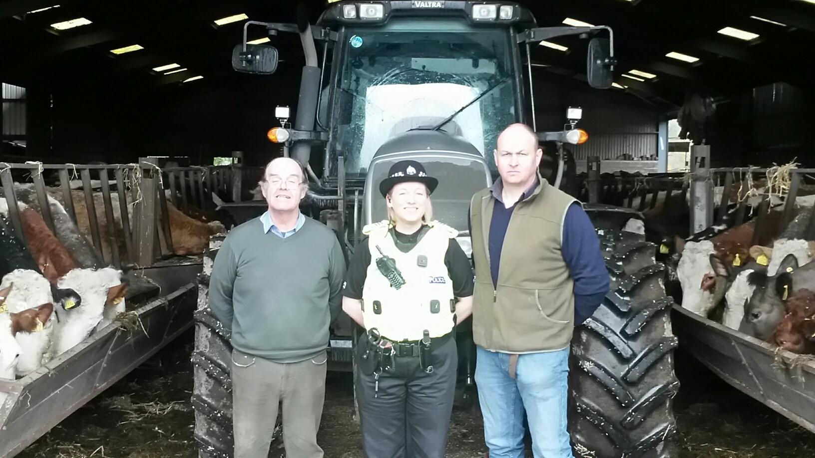 Community co-ordinator, Sergeant Amanda Nicolson on East Dron farm