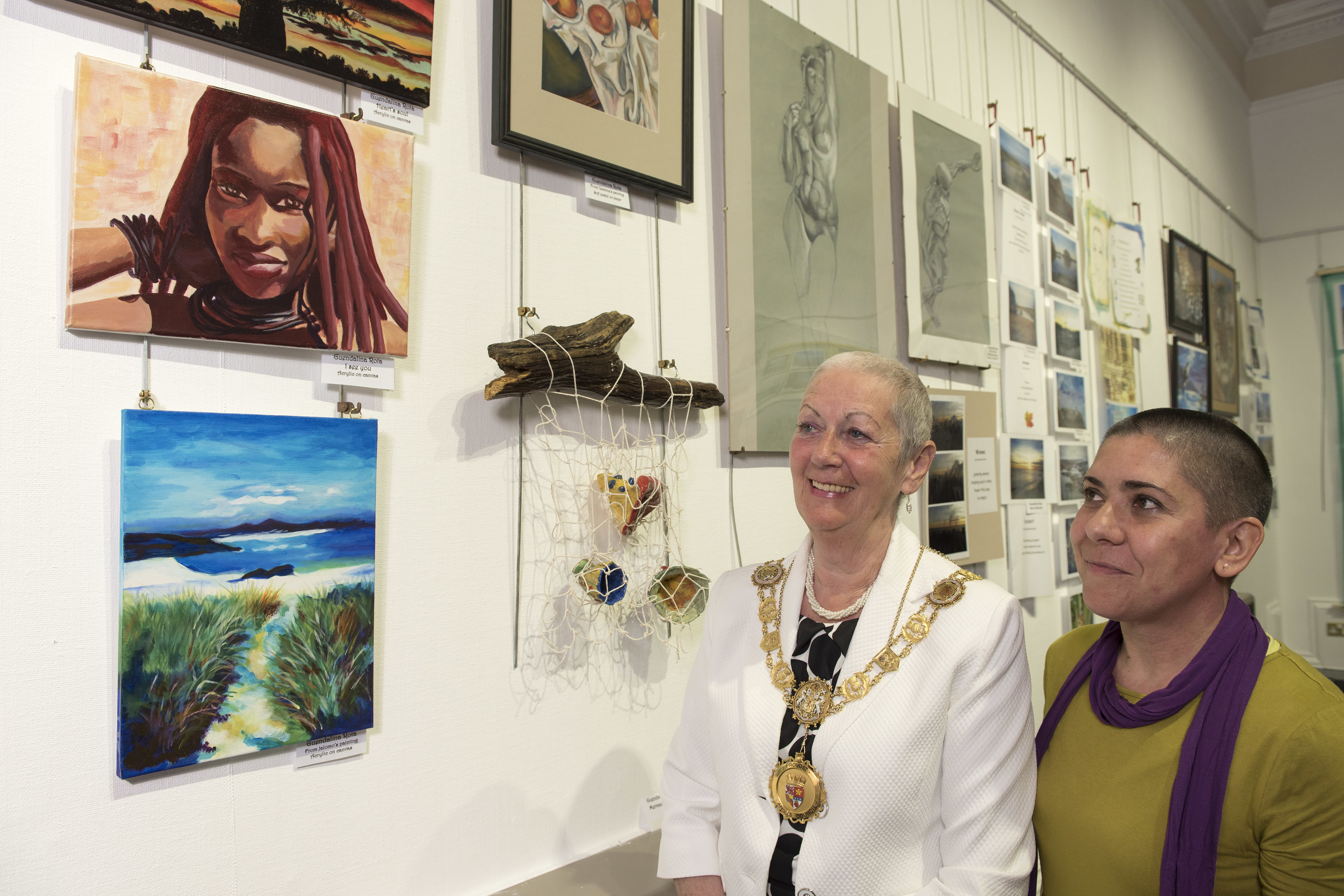 Angus Provost Helen Oswald pictured with Guendalina Rota from Italy and some of her work.