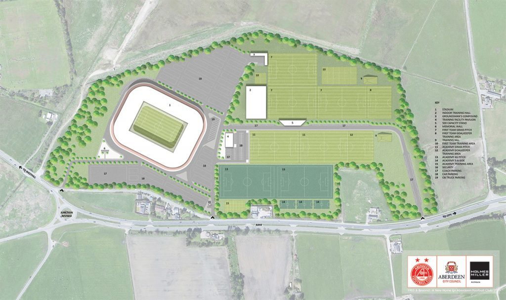 Thursday, May 12th, 2015, Aberdeen, Scotland. Aberdeen Football Club is set to move home after the Dandy Dons unveiled plans for new digs yesterday (THURS). The SPL team is set to flit from the club's current Pittodrie home to a 40 million pounds development on a greenfield site near the outlying western suburb of Kingswells eight miles away. Pictured: A birds eye view of how the new stadium and training grounds will be laid out at Aberdeen FC's Kingsford development. (PIC: NEWSLINE MEDIA)