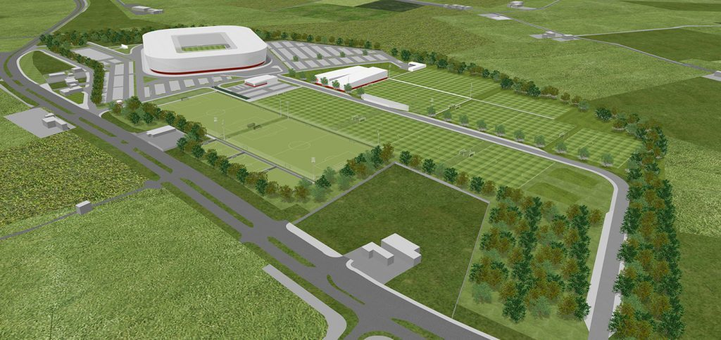 Thursday, May 12th, 2015, Aberdeen, Scotland. Aberdeen Football Club is set to move home after the Dandy Dons unveiled plans for new digs yesterday (THURS). The SPL team is set to flit from the club's current Pittodrie home to a 40 million pounds development on a greenfield site near the outlying western suburb of Kingswells eight miles away. Pictured: An artist's impression of how the new stadium and training grounds will look at Aberdeen FC's Kingsford development. (PIC: NEWSLINE MEDIA)