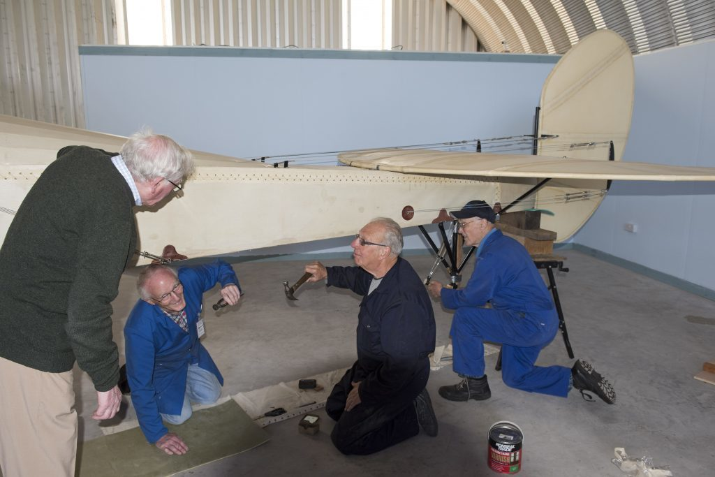 The BE2a build team of Alan Doe, Jules Stevenson, Brian Crozier and Andy Lawrence pictured at work.