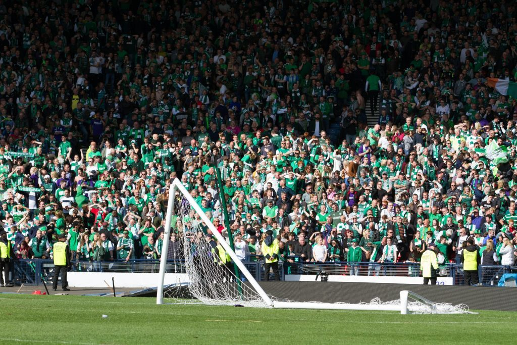 The violence meant Hibs fans did not see their team perform a lap of honour.