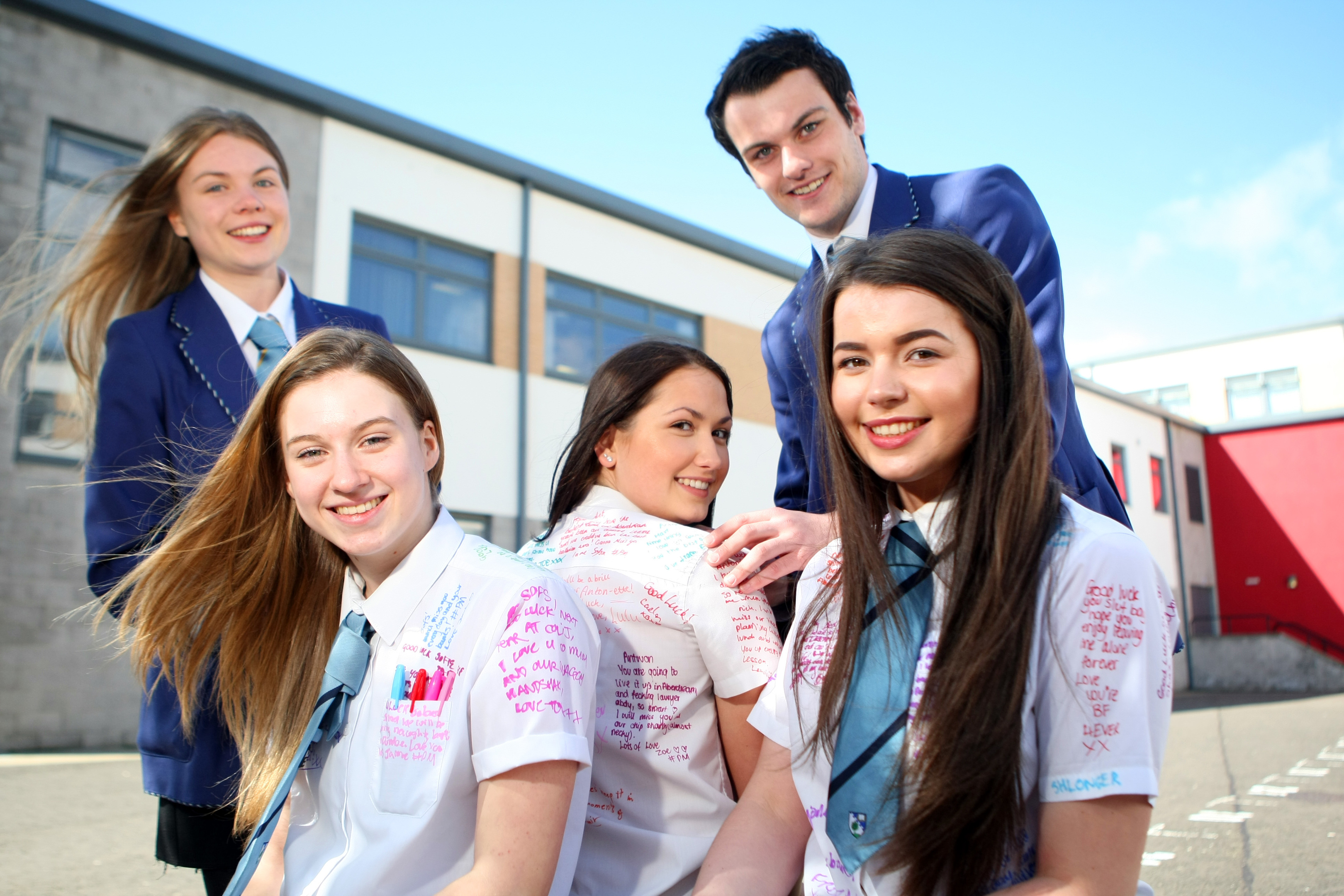 S6 pupils at Grove Academy taking part in the leaver's event. From left to right: Head girl, Caitlin Morgan, Sofie Tait, Sasha Carroll, Antonia Holligan and Head boy Paul Callaghan