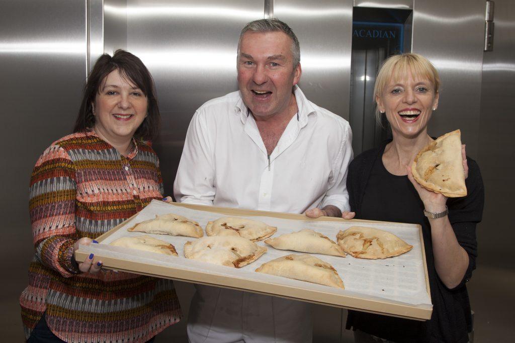 Hilary Tasker (left) with Mike and Morna Saddler of Saddler's bakery.