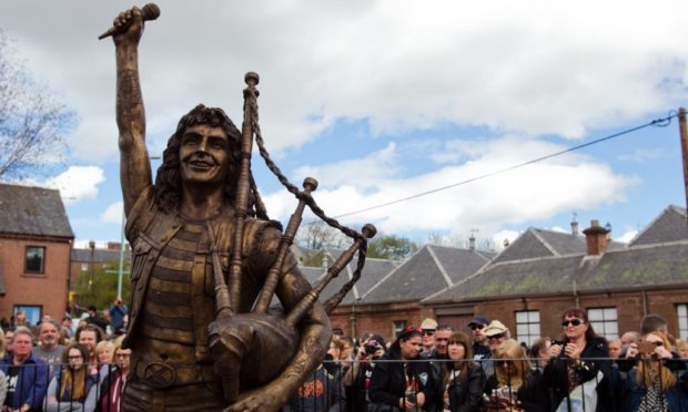 The Bon Scott statue in Kirriemuir