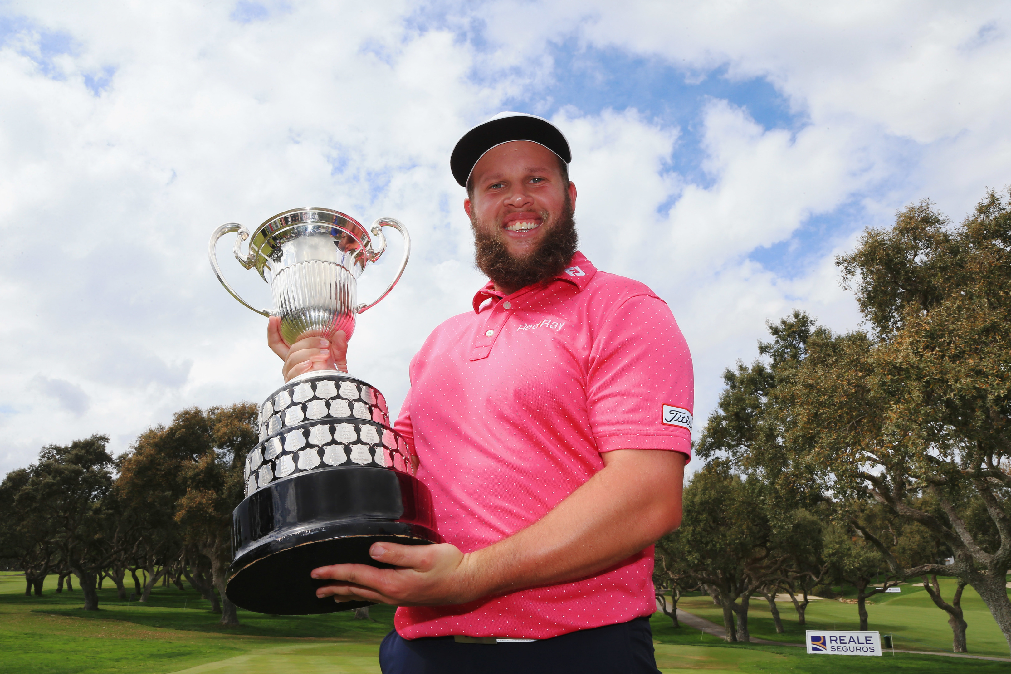 Andrew Johnston celebrates after at the Open de Espana on April 17.