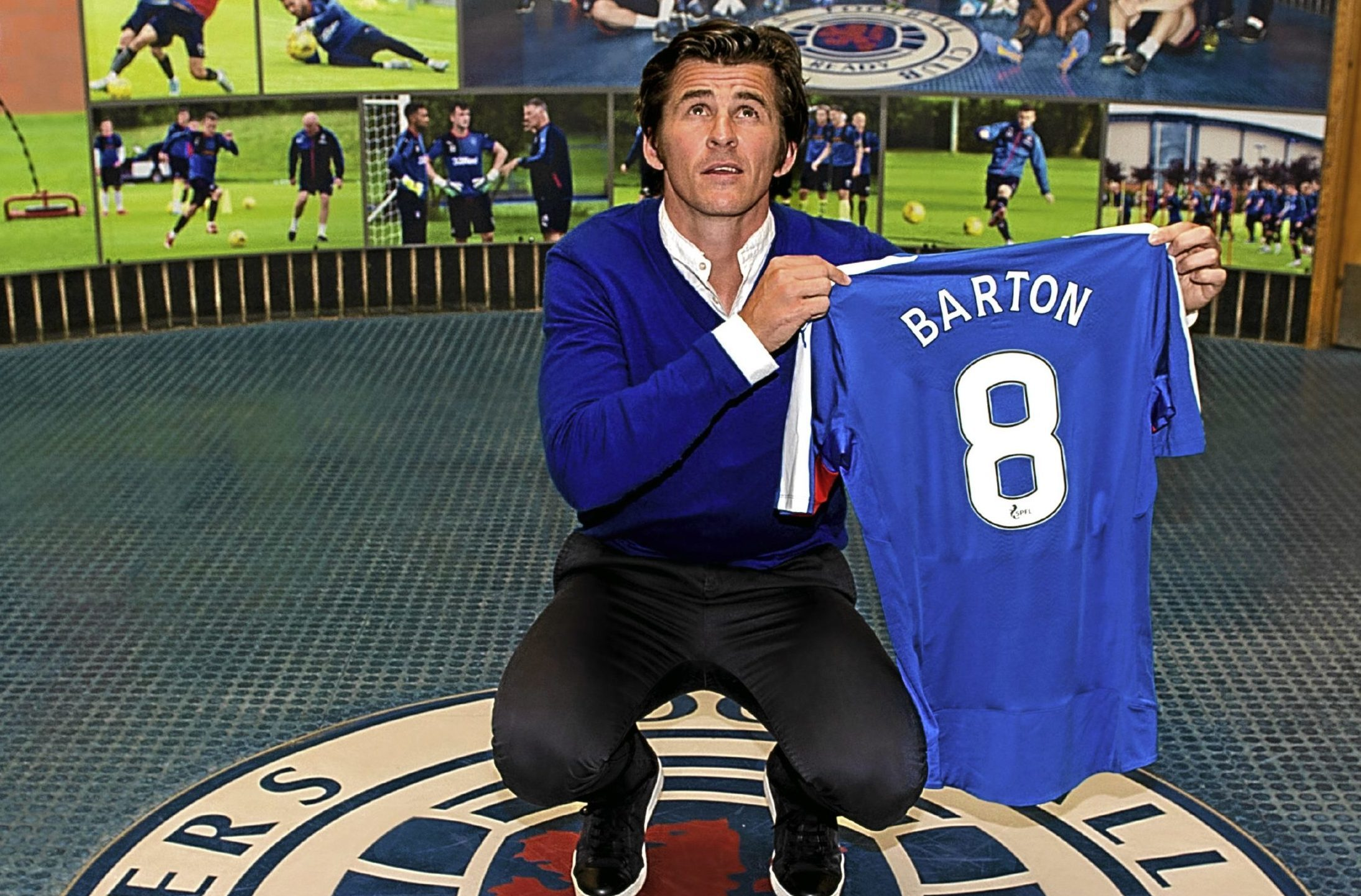 Rangers' newest signing Joey Barton is unveiled to the press at Murray Park.