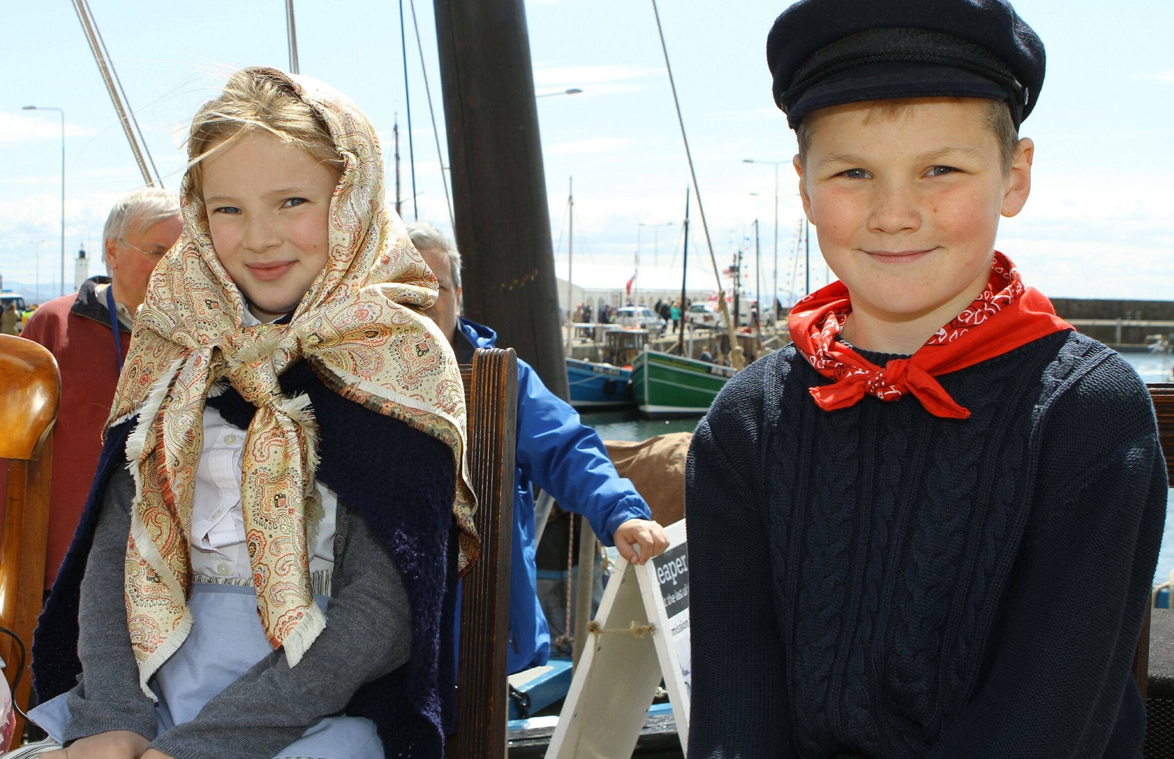 The 2015 Anstruther Harbour Festival Fisher Lass - Jenny Hodge and the Fisher Lad - Jamie Anderson.