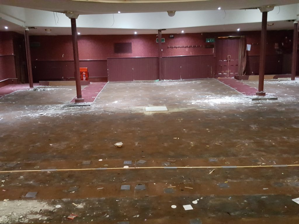 Seating has been removed from auditorium as part of restoration.