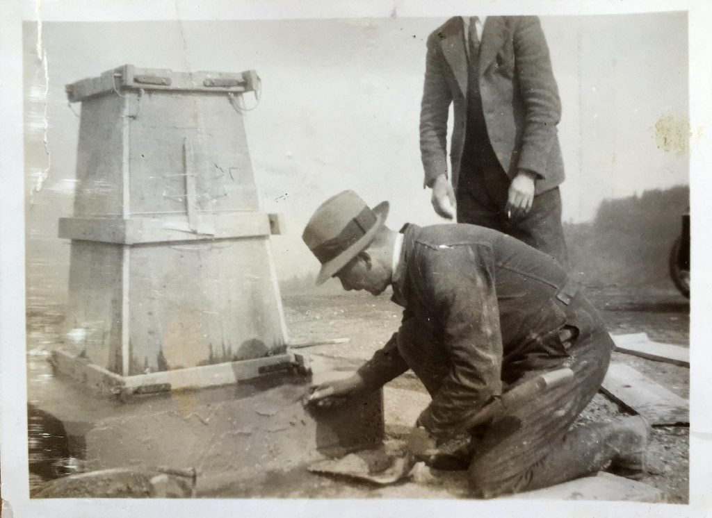 Building a trig pillar in the 1930s.