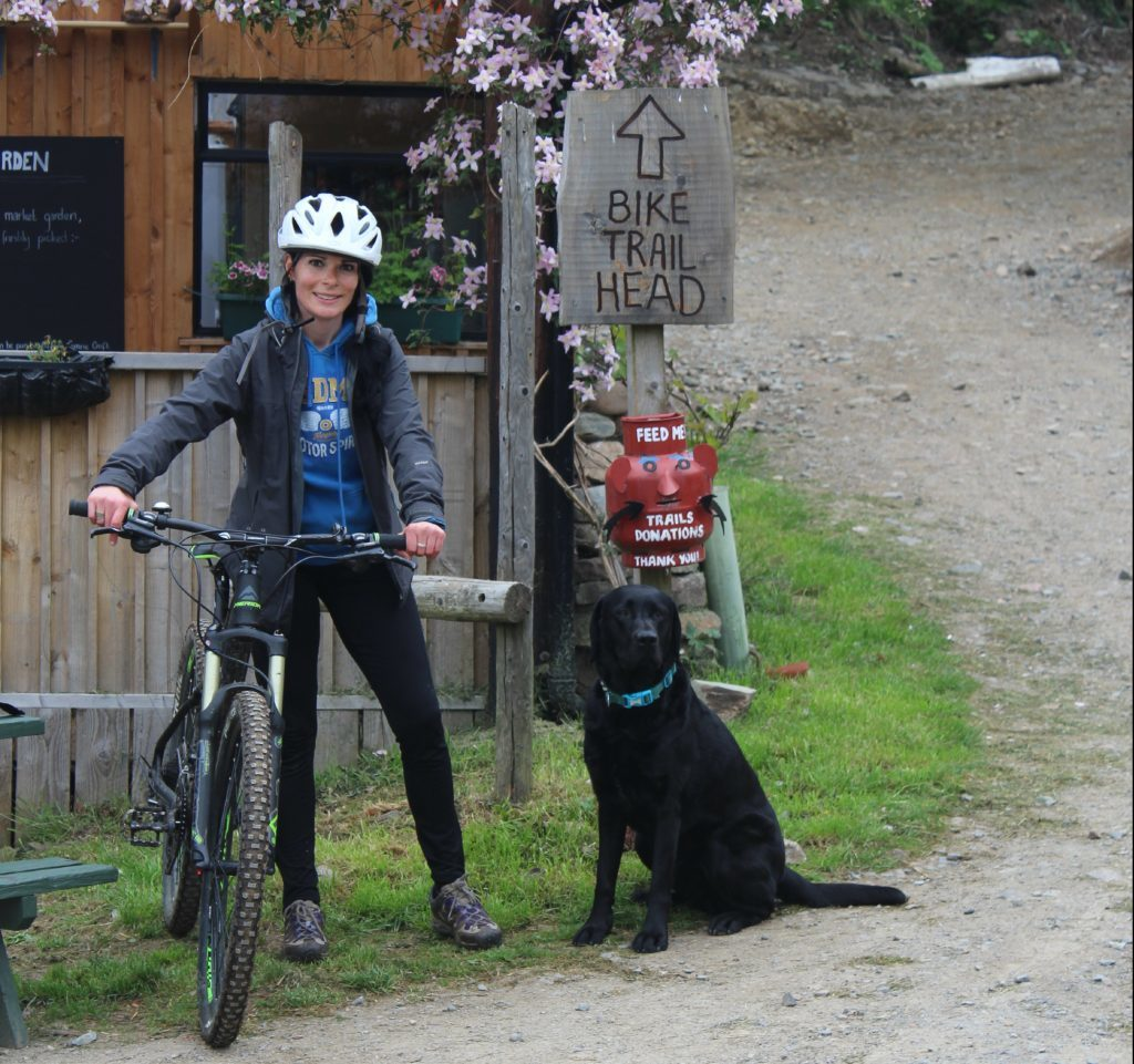 Gayle and her dog Toby at Comrie Croft.