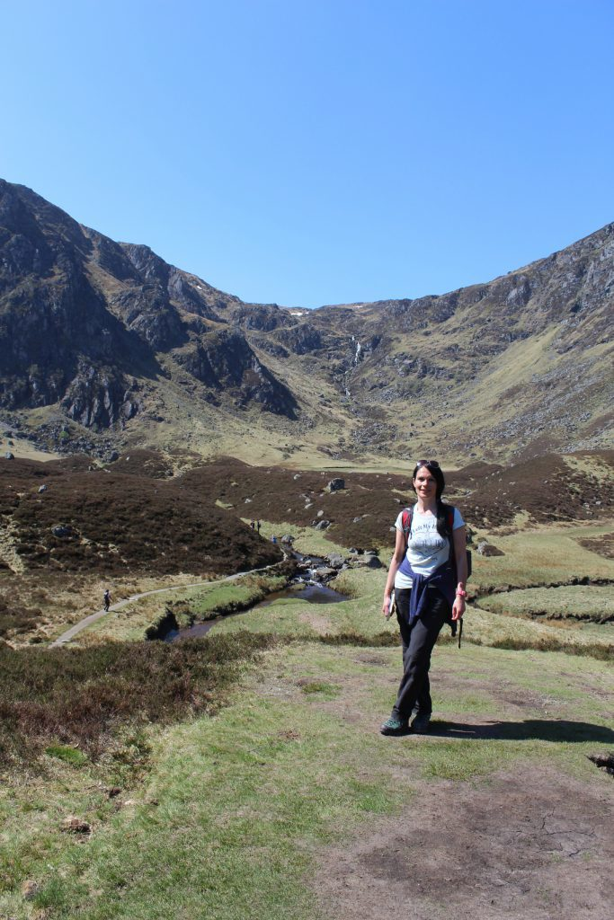 Gayle at the mouth of Corrie Fee.