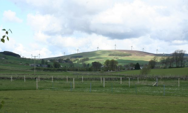 An artist's impression of how Saddlehill windfarm would look.