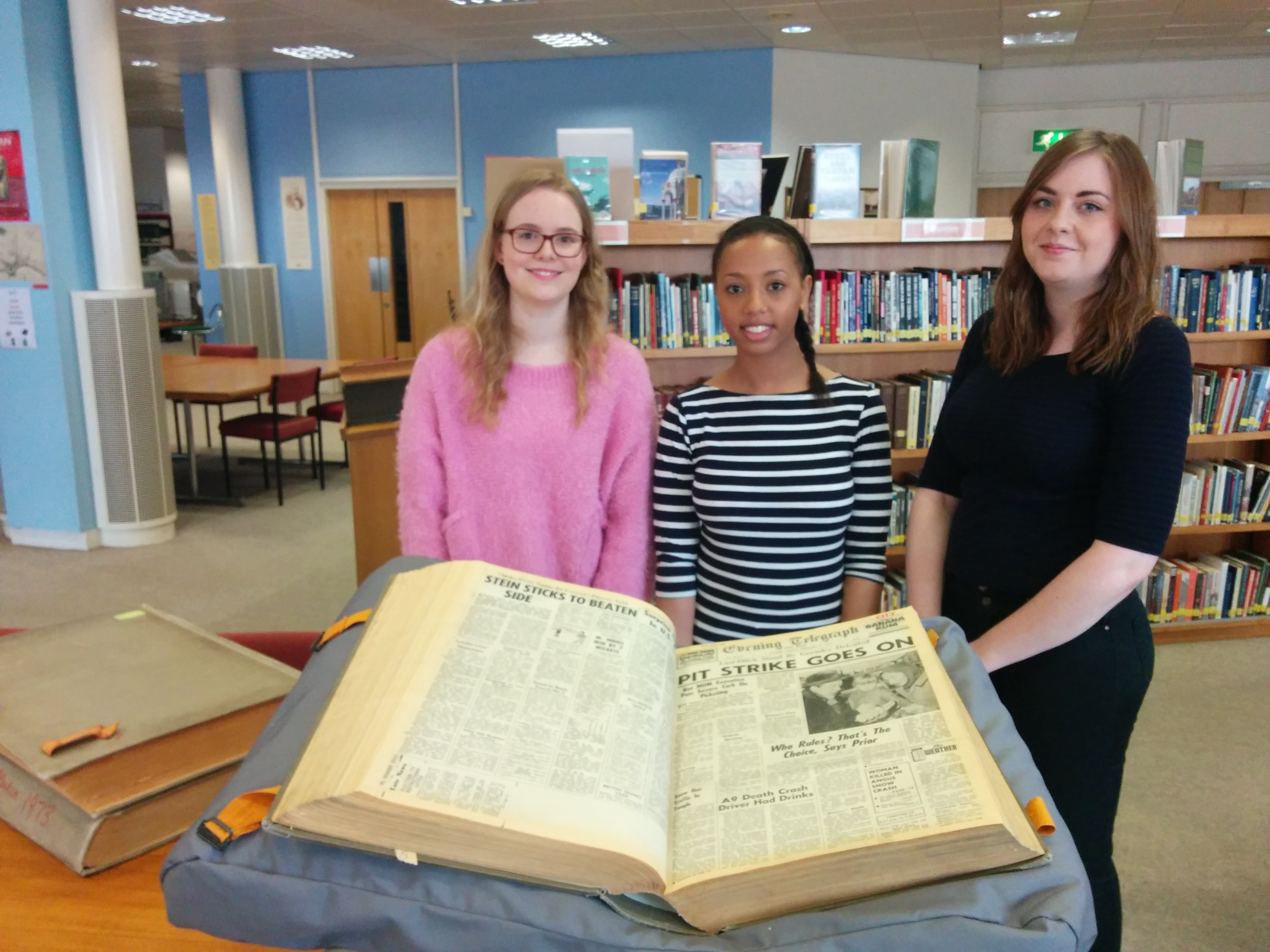 Abertay University forensic psychology students (l to r) Mhairi Anderson, Nesha Dixon an Amy Morrison who searched for missing persons reports.
