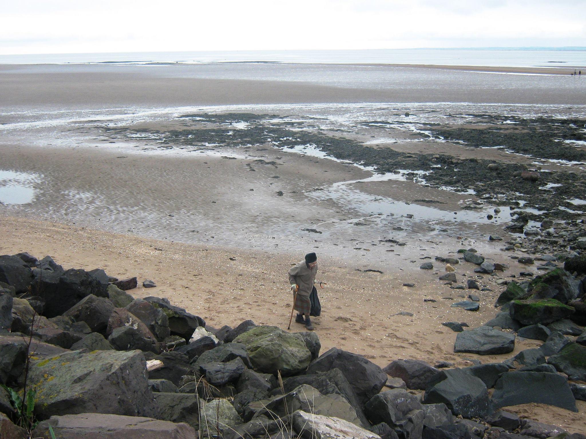 A volunteer helping to clean up Monifieth beach.