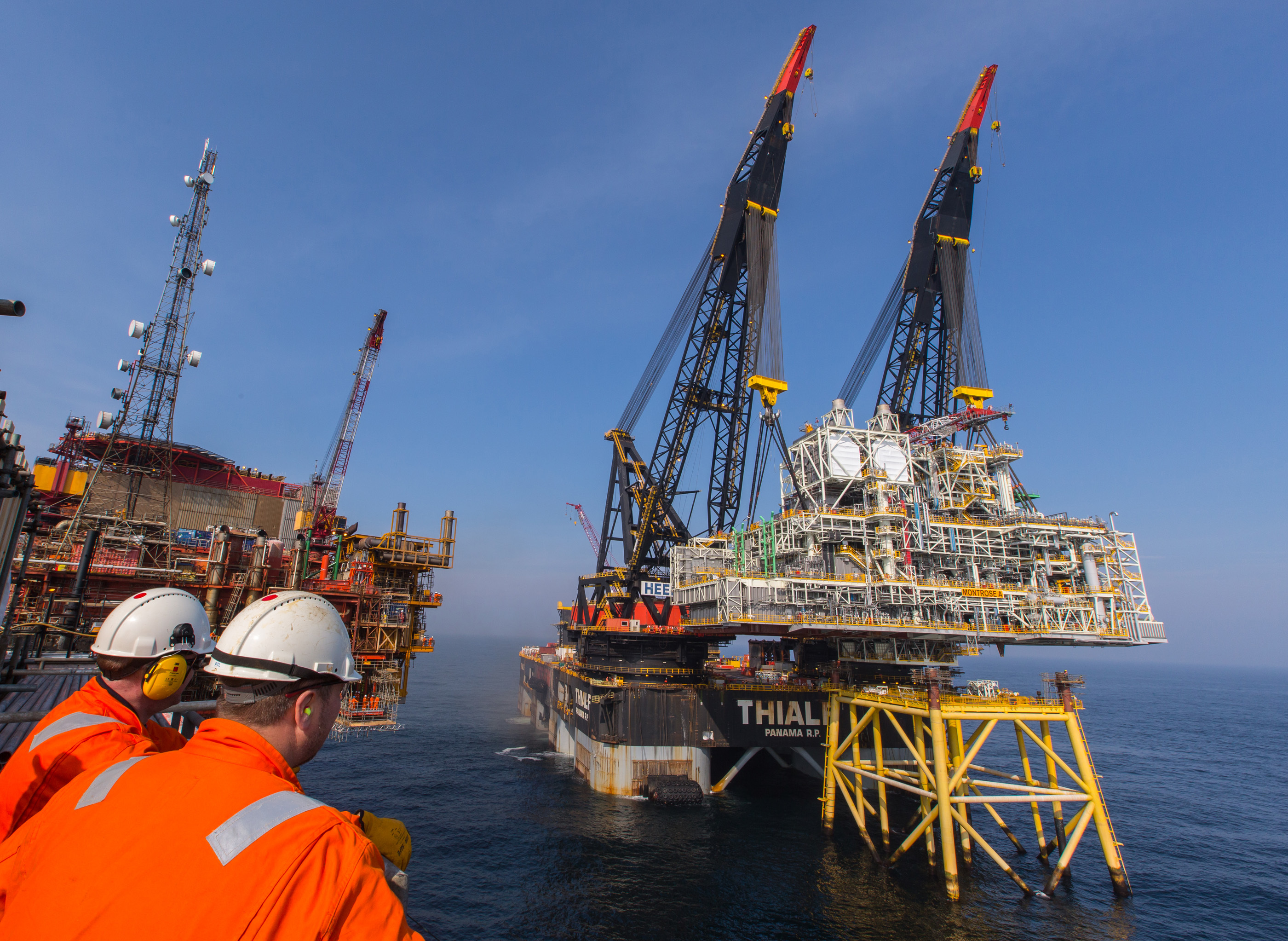 The new platform being installed in the North Sea.
