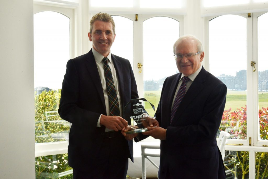 Old Course Hotel operations manager David Scott left) and Stephen Carter with the Best Hotel award