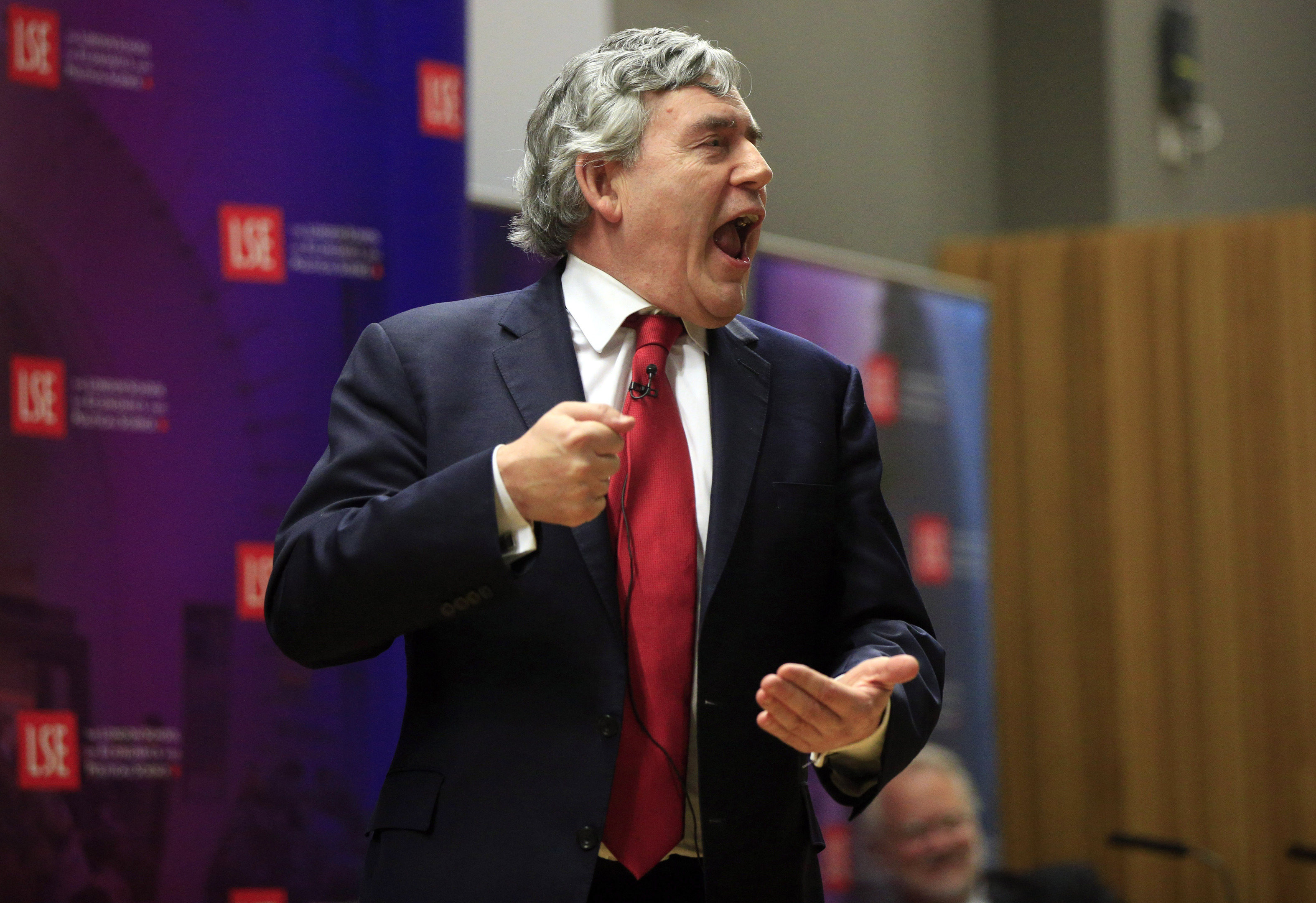 Gordon Brown delivering a passionate speech