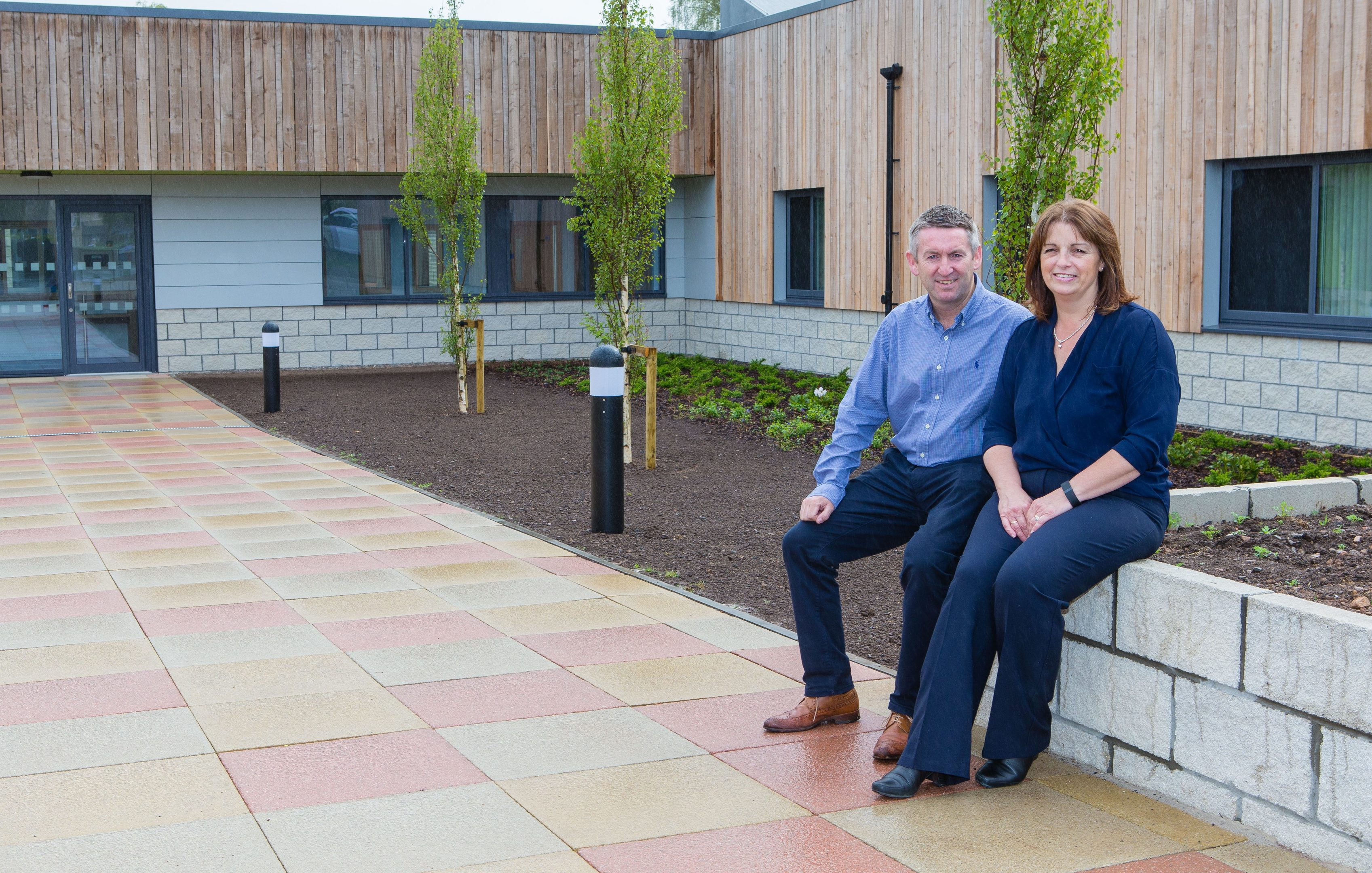 Clinical Service manager Lesley Tweedie and Head of Estates, Project Director Alan Lawson outside the new Intensive Psychiatric Care Unit at Stratheden Hospital.