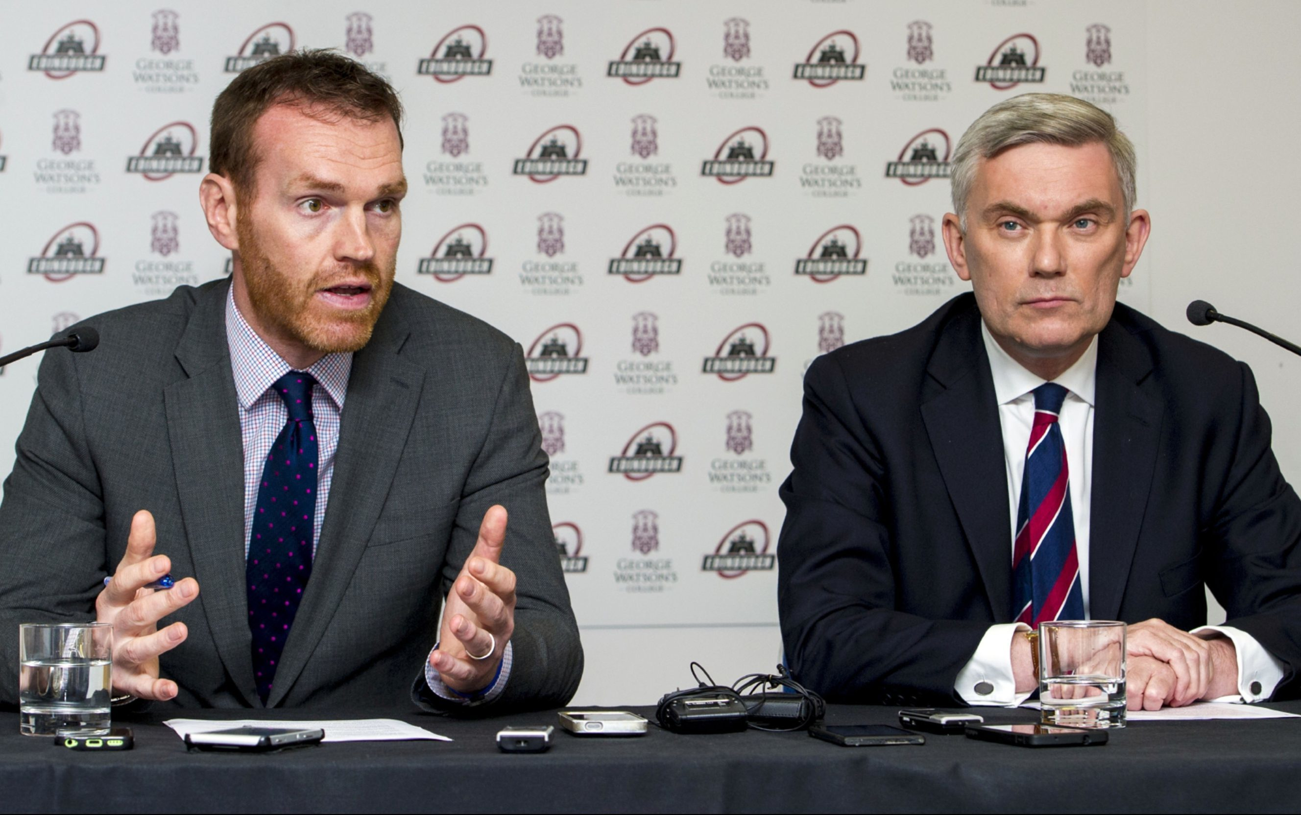 Edinburgh managing director Jonny Petrie and George Watson's College principal Melvyn Roffe.