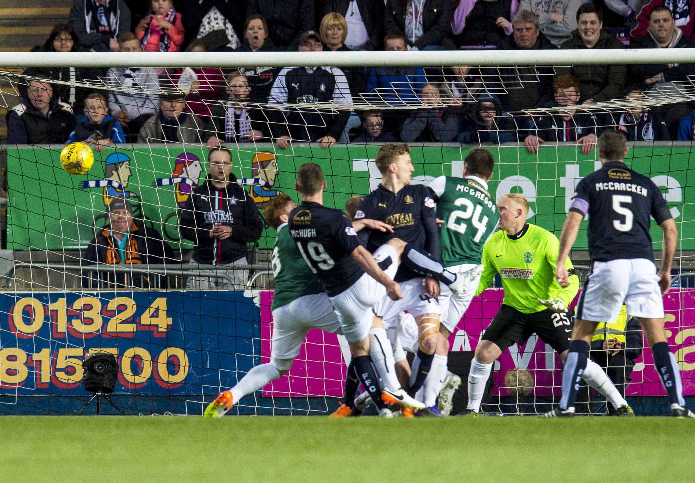 Falkirk's Bob McHugh scores his side's winning goal.