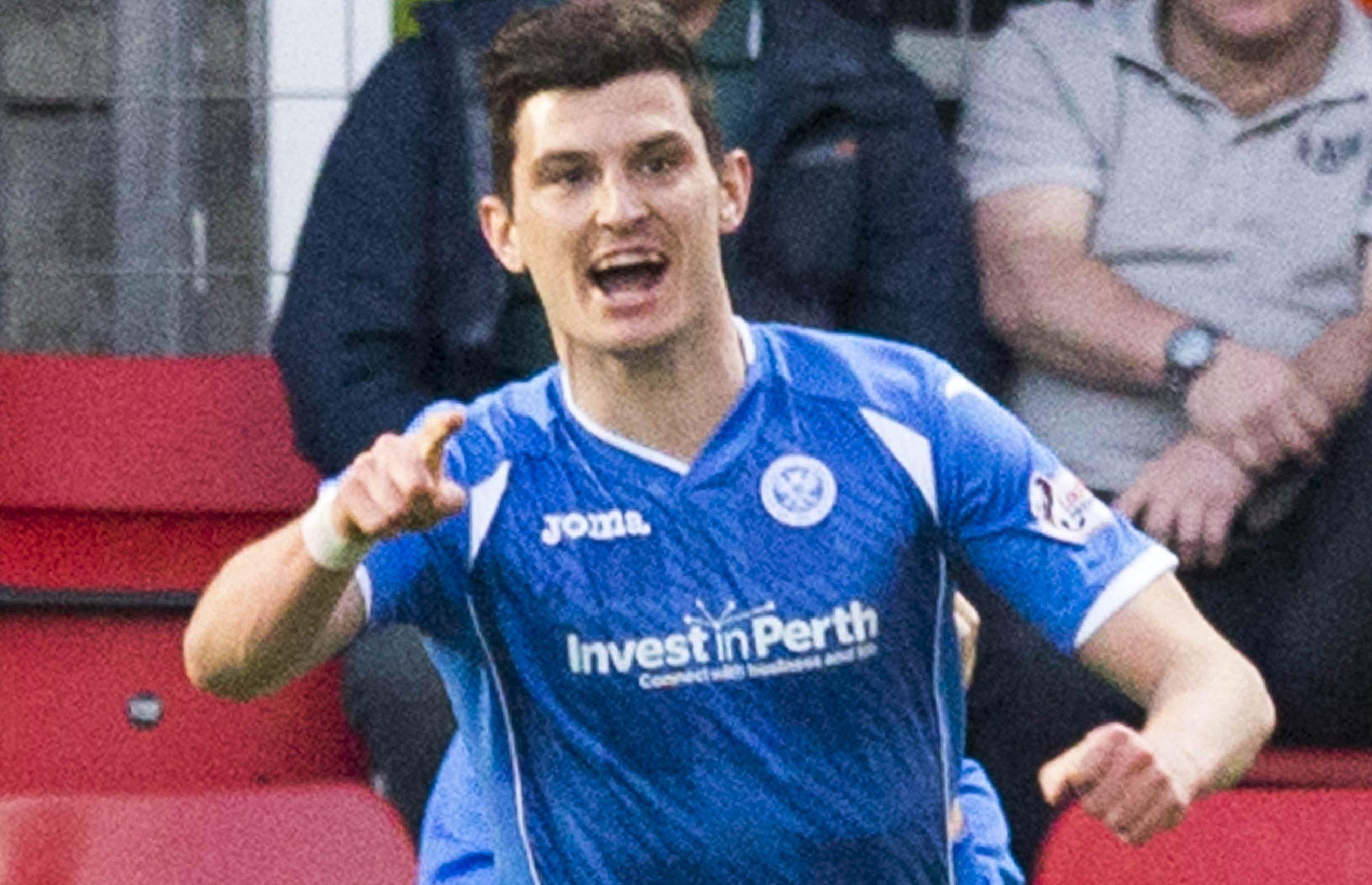 Graham Cummins celebrates scoring his side's winning goal against Celtic.