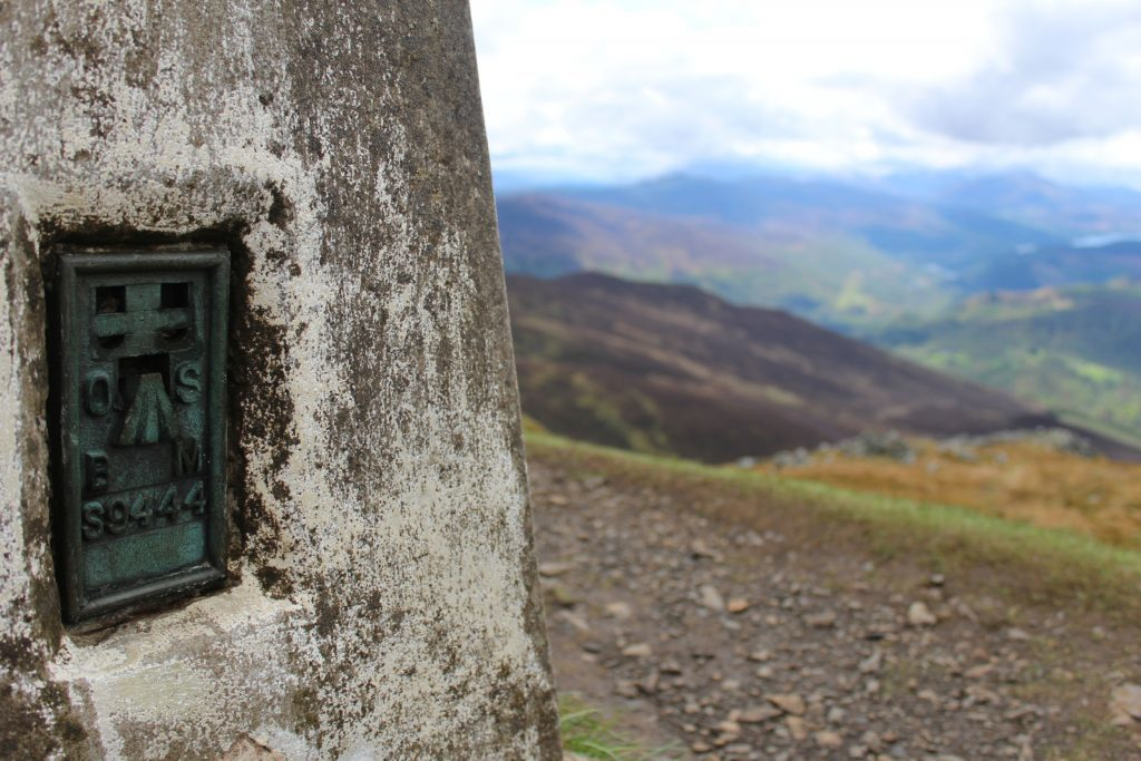 Ordnance Survey details on Ben Vrackies trig pillar.