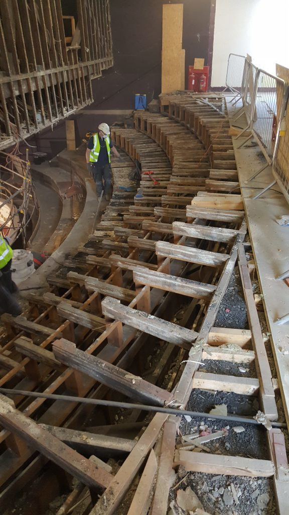 Upper circle bench seating revealed for first time since the 1960s.