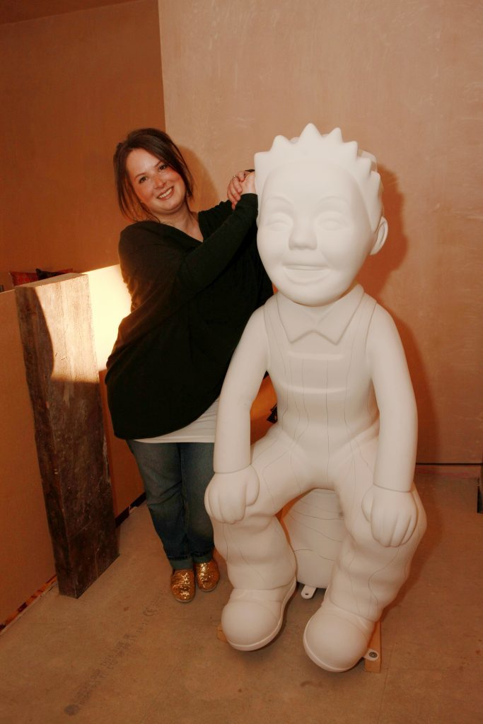 """Joanne MacFadyen with """"Oor Wullie"""" statue waiting to be painted in the Ignite Dundee pop-up shop at the Old Flour Mill, Exchange Court off Exchange Street, Dundee."""