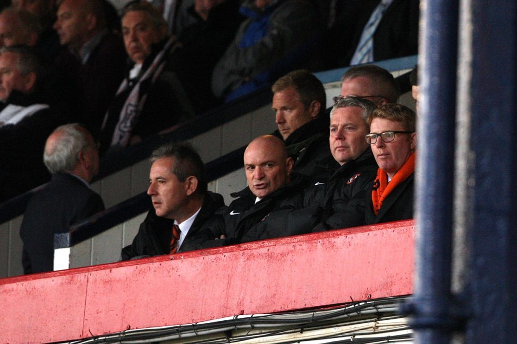 Dundee United chairman Stephen Thompson watches a match from the stands