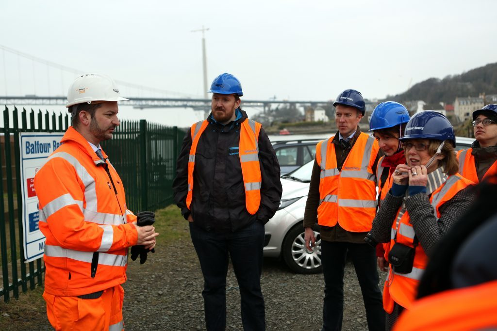 International journalists receive a safety briefing from Netowkr Rail senior communications manager Craig Bowman (left) before scaling the Forth Rail Bridge. The Courier's Michael Alexander is third from left.