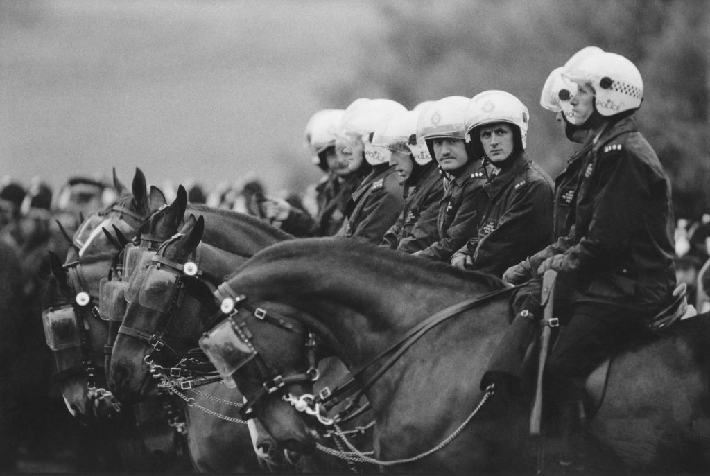 Mounted police at Orgreave Colliery, Yorkshire, during the 1984 miners' strike